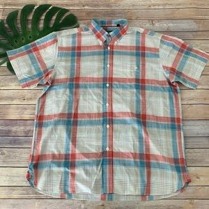 Orvis red, white, & blue plaid button up shirt